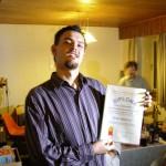 Gilles modtog et diplom fra Sydnordisk Akademi for Donaldisme